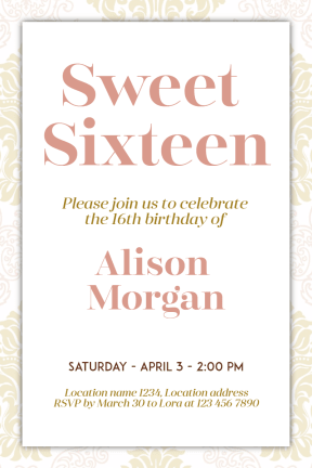 Sweet Sixteen #invitation #sweetsixteen #party #birthday #anniversary #