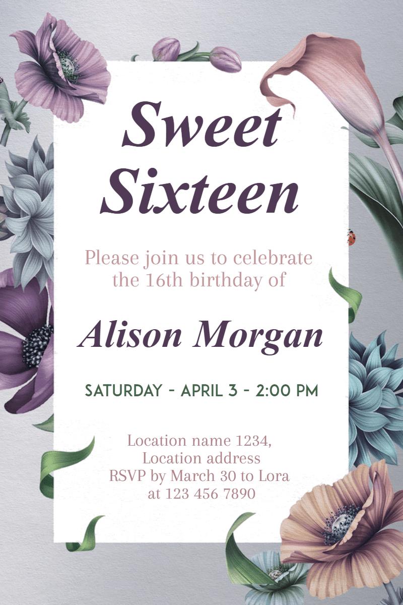 Flower, Text, Purple, Font, Petal, Invitation, Sweetsixteen, Party, Birthday, Anniversary, White,  Free Image