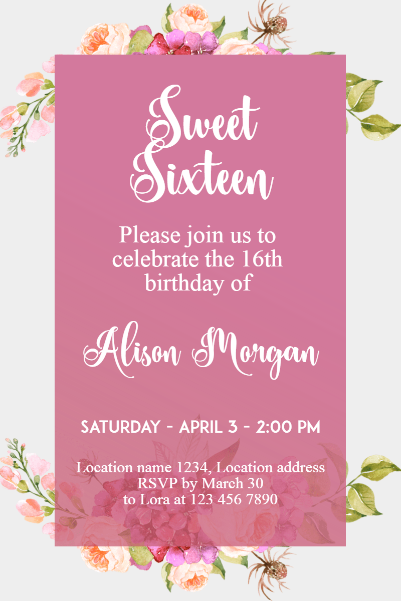 Pink,                Text,                Flower,                Petal,                Font,                Invitation,                Sweetsixteen,                Party,                Birthday,                Anniversary,                White,                Fuchsia,                 Free Image