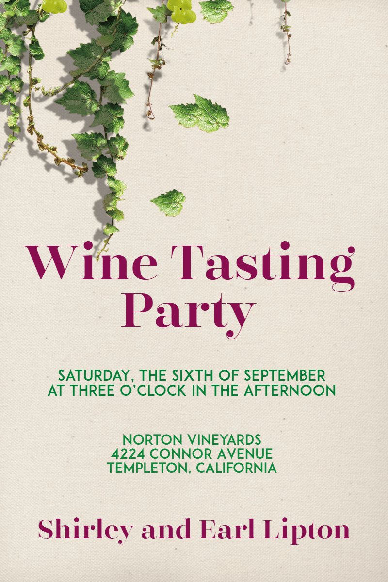 Wine Tasting Party #invitation Design  Template