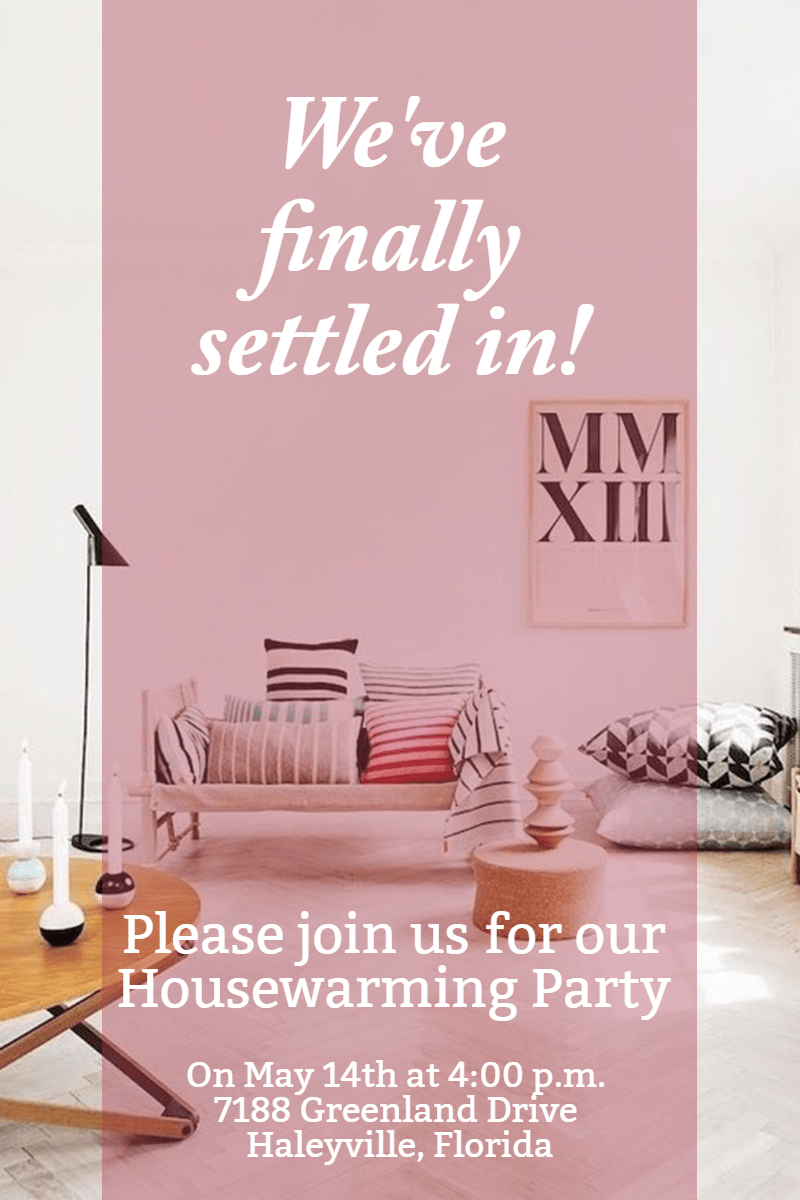 Text, Pink, Room, Table, Furniture, Invitation, House, Party, Housewarming, White,  Free Image