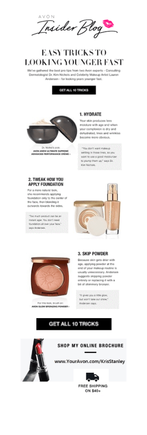Avon 10 tricks for looking younger fast