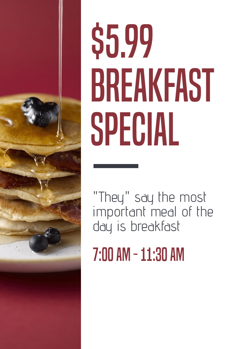 Breakfast special #template #food Design  Template