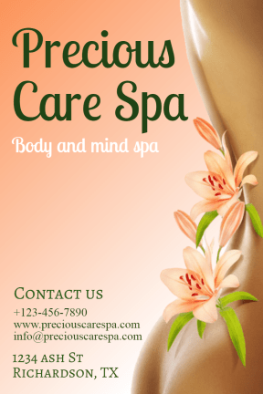 Precious care spa #spa #care #relax #business #poster