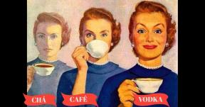 chá, café, vodka