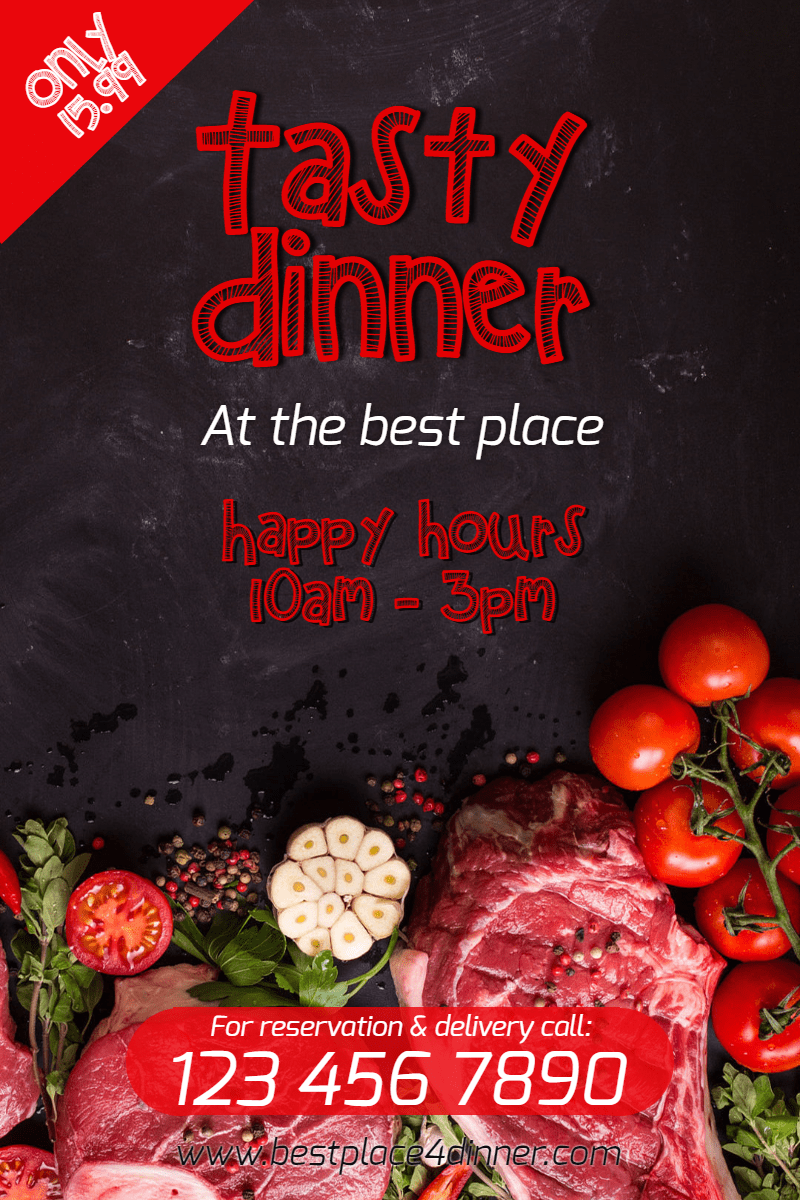Tasty Dinner #poster #dinner #happy Design  Template