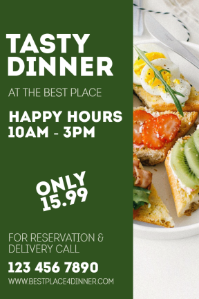 Tasty Dinner #poster #dinner #happy hours #food #restaurant #tasty