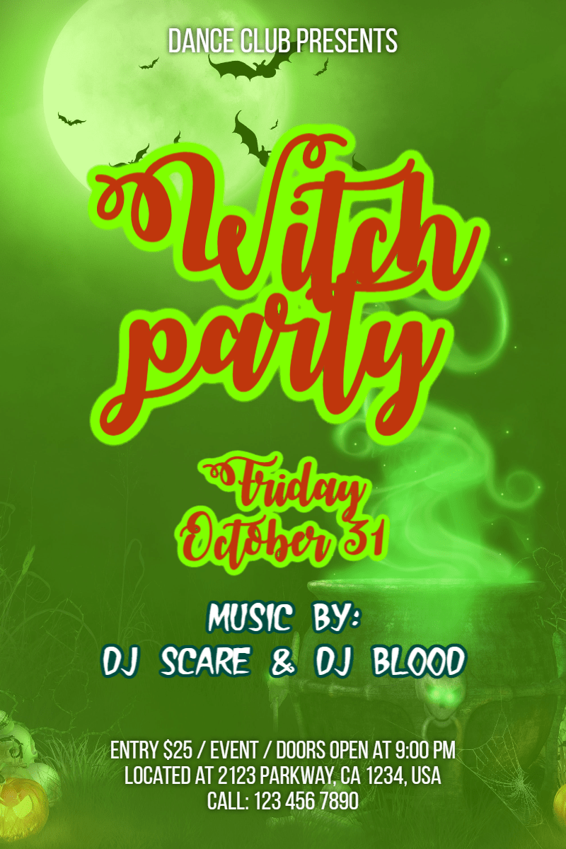 Green, Text, Advertising, Font, Poster, Organism, Grass, Graphics, Invitation, Halloween, Party, Dance, Fun,  Free Image