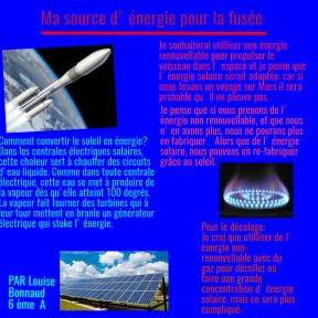 Ma source d'énergie pour la fusée.