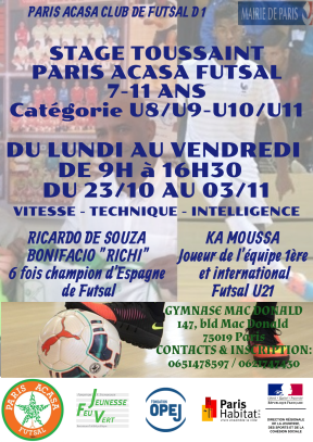 STAGE PARIS ACASA FUTSAL AVRIL