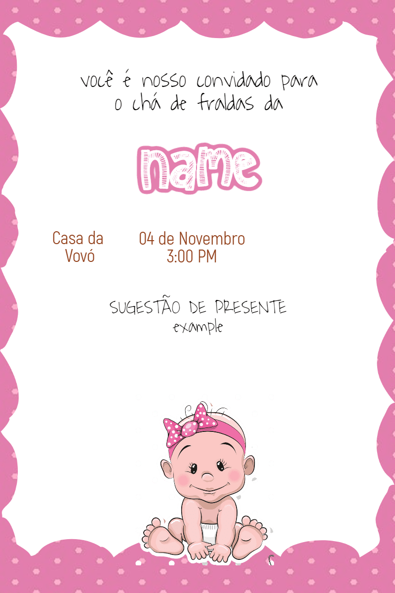 Baby,                Invitation,                Babyshower,                Littlegirl,                Girl,                White,                Fuchsia,                 Free Image