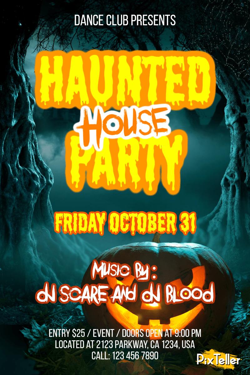 Invitation,                Halloween,                Party,                Dance,                Fun,                Haunted,                Black,                Yellow,                 Free Image