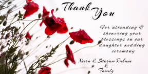 Thank you note for attending wedding