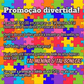 #promoção#estoureumblão#talmeninatalbonecamanaus