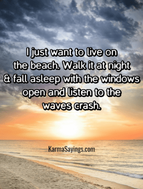 I just want to live on the beach. Walk it at night & fall asleep with the windows open and listen to the waves crash.