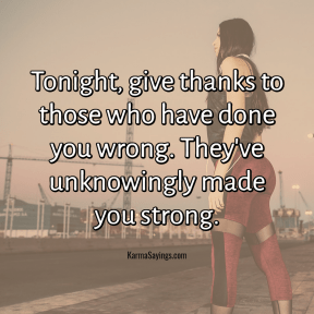 Tongiht, give thanks to those who have done you wrong. They've unknowingly made you strong.