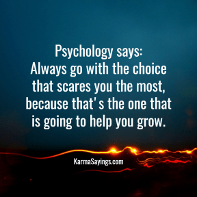 Psychology says: Always go with the choice that scares you the most, because that's the one that is going to help you grow.