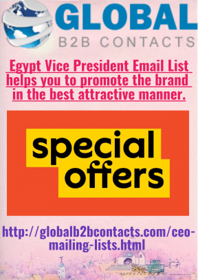 Egypt Vice President Email List helps you to promote the brand in the best attractive manner.