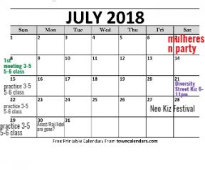 july schedule+ 2018