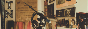 Photo - #Photography #Photo #hanging #music #microphone #modern #wall #mural #Headphones #room #with