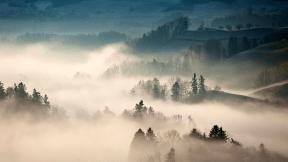 Photo - #Photography #Photo #fog #hilly #sky #tree #landscape #atmosphere #morning #phenomenon #A