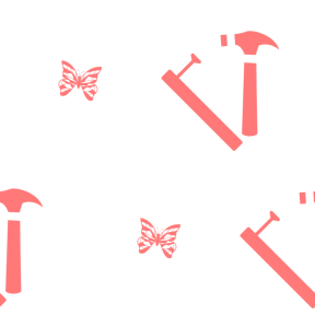 Pattern Design - #IconPattern #PatternBackground #butterflies #utensils #insect #nail #butterfly #and #wood #hammer