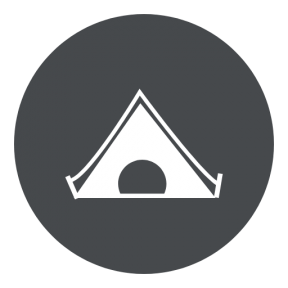 Icon Graphic - #SimpleIcon #IconElement #view #black #camping #circle #tent #forest #shape #drum #woods #circles