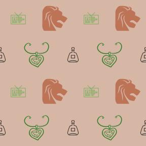 Pattern Design - #IconPattern #PatternBackground #necklace #zodiac #romanticism #card #lion #bar #identity #food