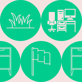 Pattern Design - #IconPattern #PatternBackground #desk #plants #circles #table #plant #shapes #country #equipment #leaves #circular