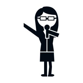 Icon Graphic - #SimpleIcon #IconElement #student #microphone #female #teacher #singing #talking #woman #education #eyeglasses