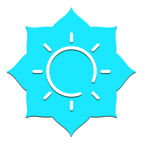 Icon Graphic - #SimpleIcon #IconElement #sunny #and #ragged #strips #label #shape #clouds #florets #backgrouns #weather