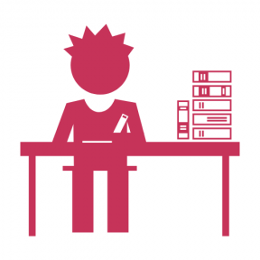 Icon Graphic - #SimpleIcon #IconElement #behind #books #student #sitting #stacked #education #stack #studying #table