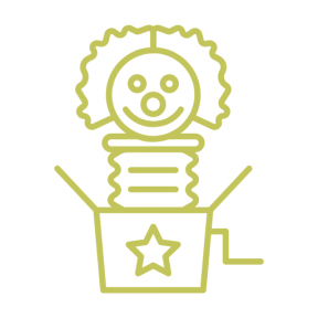 Icon Graphic - #SimpleIcon #IconElement #birthday #surprise #toy #present #boxes #clown