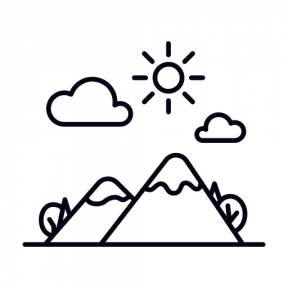 Icon Graphic - #SimpleIcon #IconElement #trees #sun #view #nature #clouds #mountain #mountains