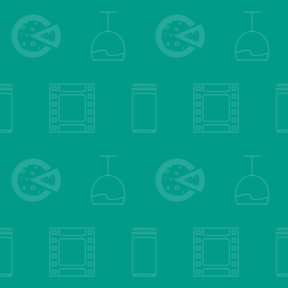 Pattern Design - #IconPattern #PatternBackground #food #symbol #communication #and #glasses #movies #tools #alcohol #pizza