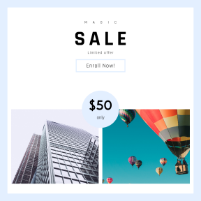 Image design template for sales - #banner #businnes #sales #CallToAction #salesbanner #grey #urban #hot #balloon #sale #skyscraper