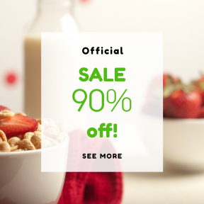 Image design template for sales - #banner #businnes #sales #CallToAction #salesbanner #red #cheerio #bowl #white #breakfast #fruit