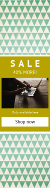 Skyscraper wide web banner template for sales - #banner #businnes #sales #CallToAction #salesbanner #shapes #drink #pattern #square #desk #macbook #circle #coffee #option #creative