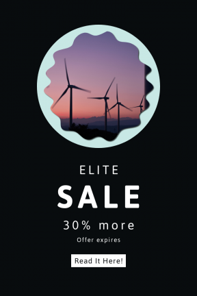 Portrait design template for sales - #banner #businnes #sales #CallToAction #salesbanner #fancy #windfarm #silhouette #scalloped #sunset #circles #rectangles #windpower #power #energy
