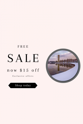 Portrait design template for sales - #banner #businnes #sales #CallToAction #salesbanner #shapes #pink #bench #lake #bell #fresh #winter
