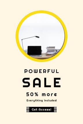 Portrait design template for sales - #banner #businnes #sales #CallToAction #salesbanner #rectangles #circular #computer #apple #desk #pluses #black