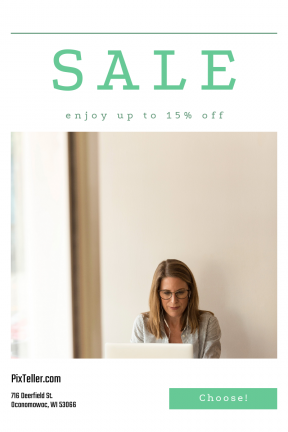 Portrait design template for sales - #banner #businnes #sales #CallToAction #salesbanner #sales #desk #concentration #glasses #woman #modern