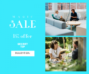 Square large web banner template for sales - #banner #businnes #sales #CallToAction #salesbanner #chair #woman #brainstorming #space #planning #computer
