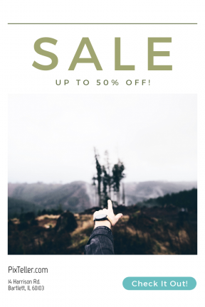 Portrait design template for sales - #banner #businnes #sales #CallToAction #salesbanner #male #nature #strech #man #tree #pointing #outdoors #circles #wrist #reach