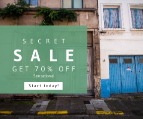 Square large web banner template for sales - #banner #businnes #sales #CallToAction #salesbanner #door #house #facade #estate #window #town