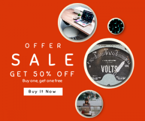 Square large web banner template for sales - #banner #businnes #sales #CallToAction #salesbanner #table #space #macbook #setup #typeface #work #office