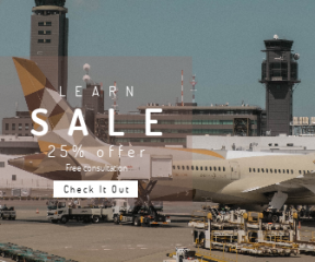Square large web banner template for sales - #banner #businnes #sales #CallToAction #salesbanner #plane #naritum #aircraft #geometric #employee #airport #design #industrial