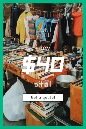 Portrait design template for sales - #banner #businnes #sales #CallToAction #salesbanner #books #vendor #clothing #street #stall #crate #antique