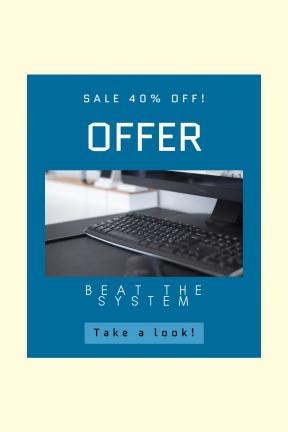 Portrait design template for sales - #banner #businnes #sales #CallToAction #salesbanner #keyboard #rectangle #box #office #minimal #computer