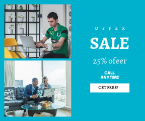 Square large web banner template for sales - #banner #businnes #sales #CallToAction #salesbanner #laughing #chair #startup #asian #colleague #business #happy #meeting #mobile #entrepreneur